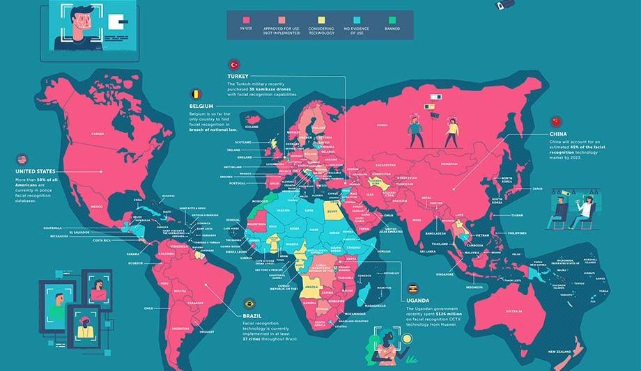 Map Illustrates Usage Of Facial Recognition Around The World