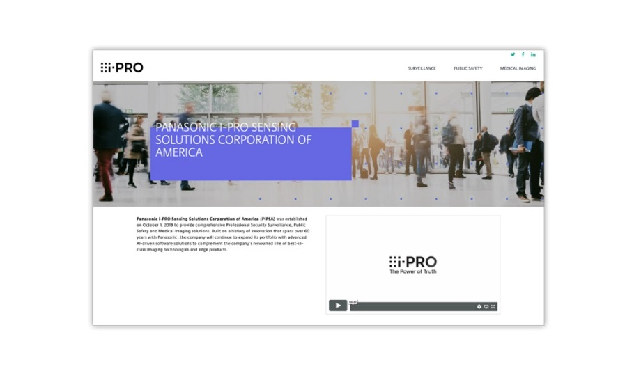 Panasonic I-PRO Sensing Solutions Announces Changing Global Branding To I-PRO