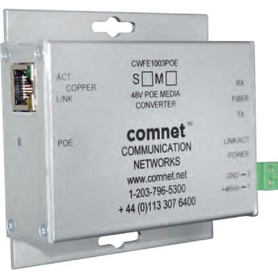 Comnet CWFE100(X)POE/ - 10/100 Mbps Ethernet 2 Port Media Converter Electrical To ST/SC/SFP* Optical With PoE+