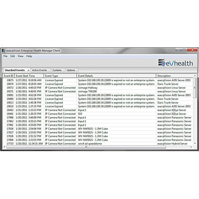 exacqVision EHM-01 Stand-alone Client Server Monitoring System