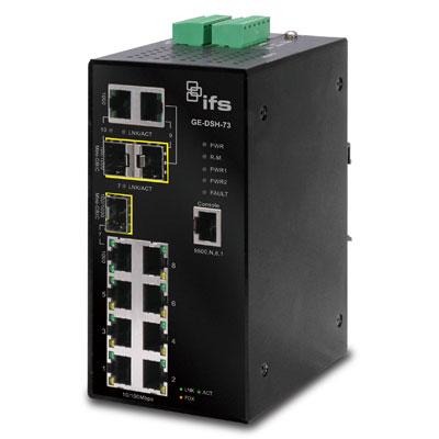 IFS GE-DSH-82 8-port 10/100 Mbps + 2-port GigE (TP/SFP) Industrial Ethernet Managed Switch